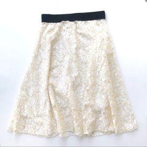 Lularoe Lola Lace Skirt White Yellow NWOT